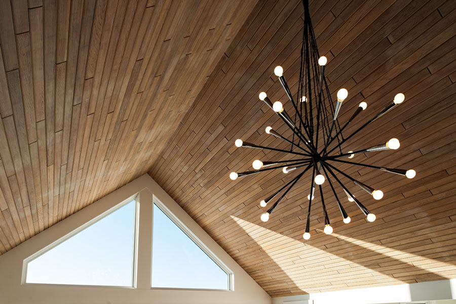 Decorating tips - chandelier and peak ceiling