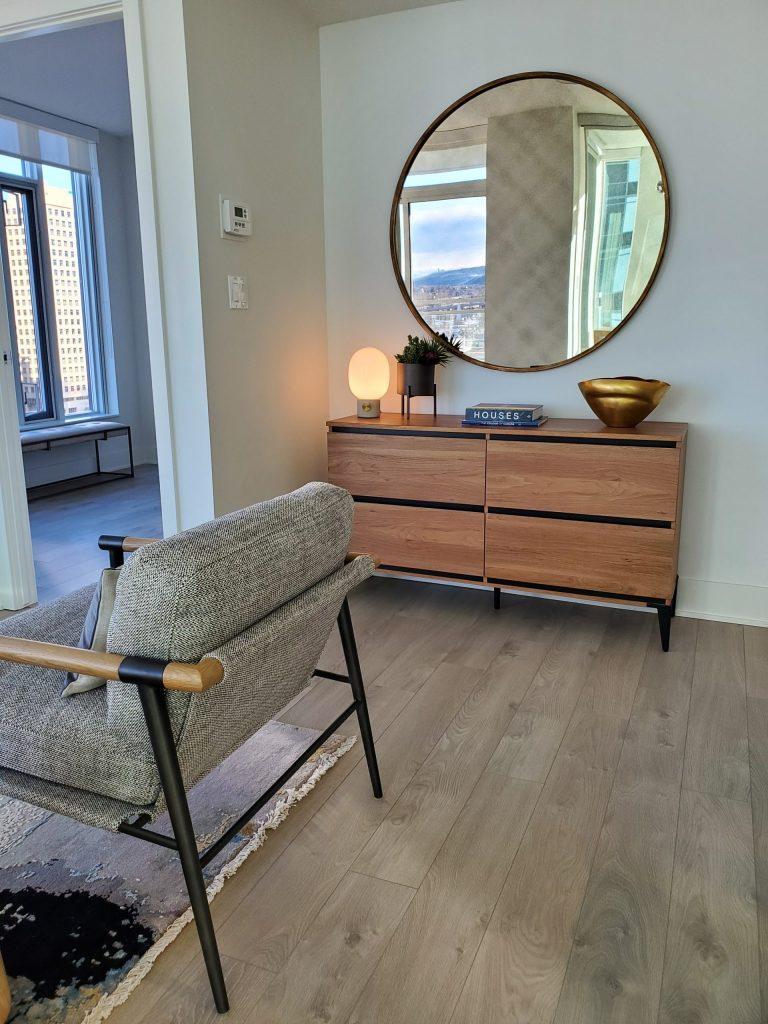 Scandinavian Design - Wooden hutch and natural fiber chair