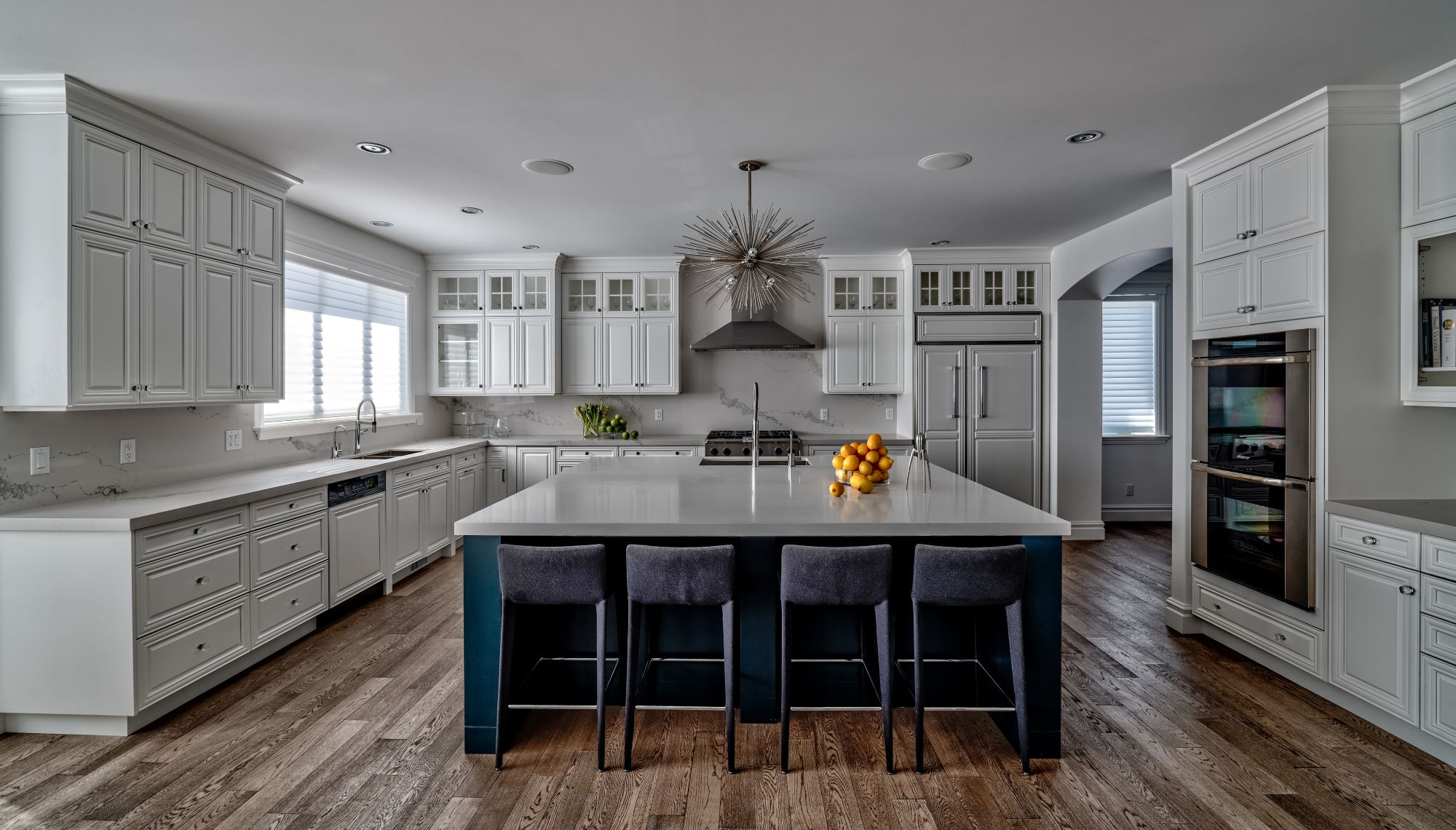 Decluttering with Hygge - Classic grey kitchen with blue accents