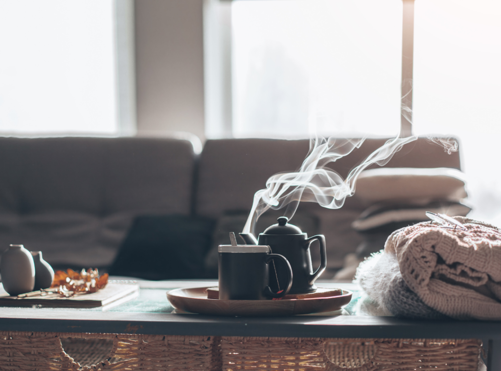 Scandinavian Design - Cozy and comfortable space with a pot of tea steaming
