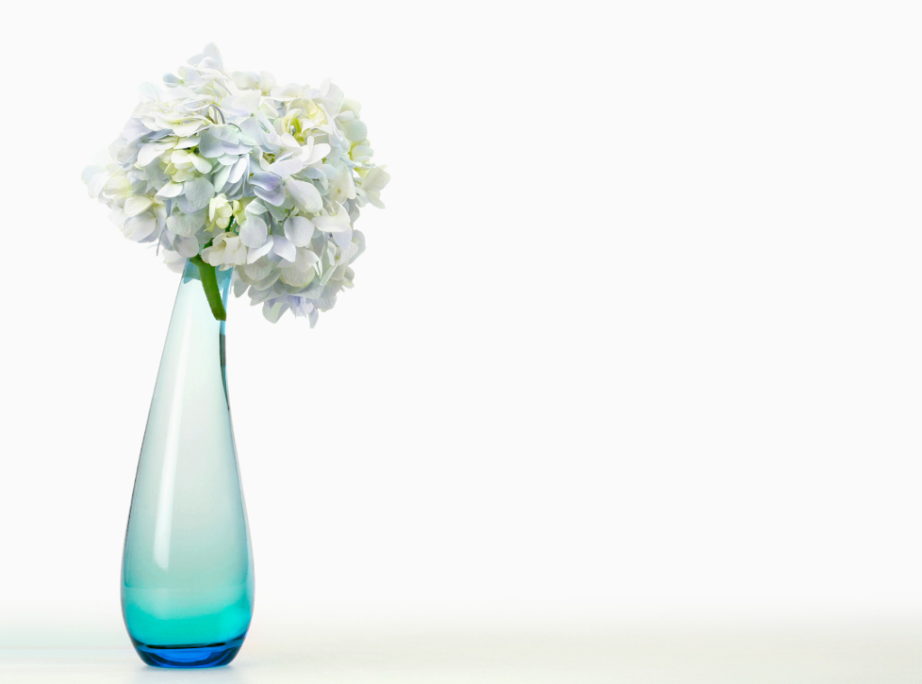Scandinavian Design - Simple Glass Flower Vase with Hydrangea